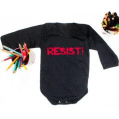 Body para bebe de algodao - resist - preto - manga longa