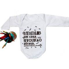 Body algodao bebe - Meninas em casa revolução atrasa - branco